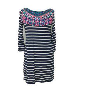 Lilly Pulitzer Bay Dress Bright Navy Island Stripe